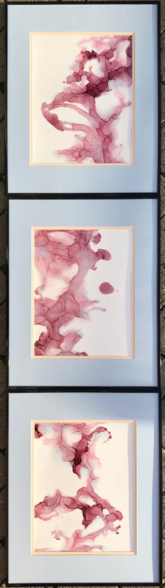 Line of fate-abstraction art,made in pale pink, light blue,rose colored