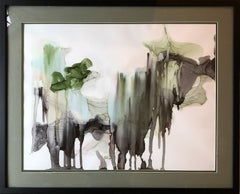 Raining in Jungles-abstract art, made in green,back,grey,olive color