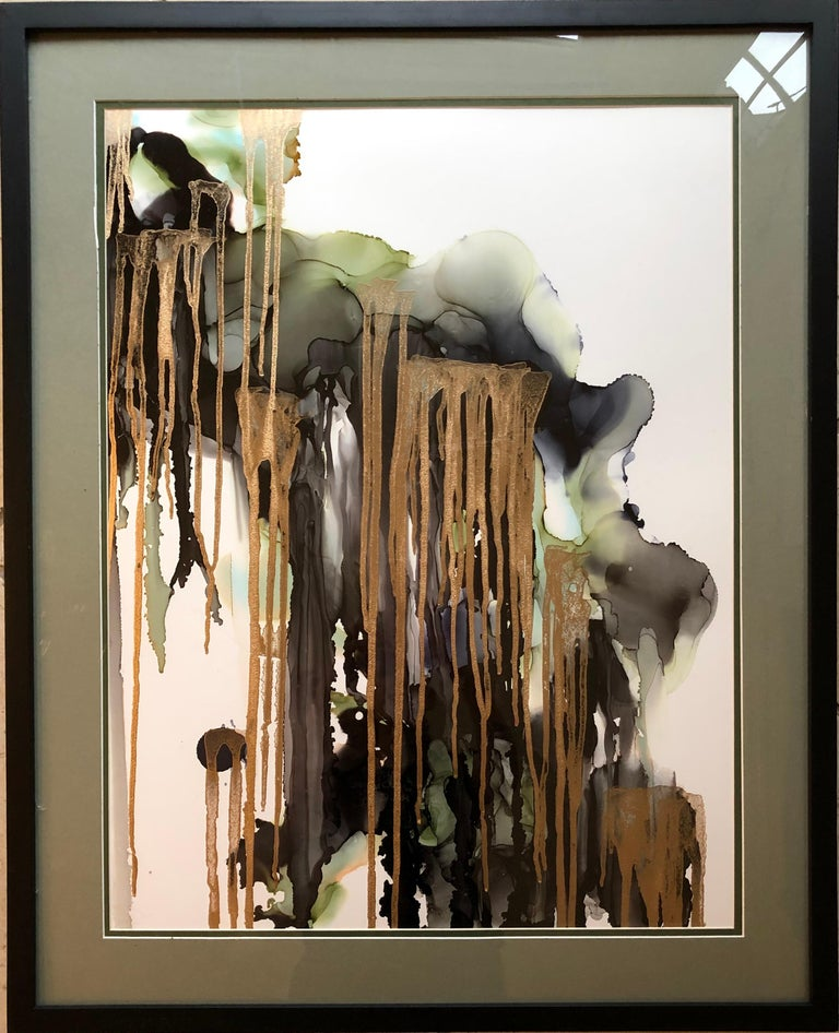 Mila Akopova Abstract Drawing - Weeping willow-abstract painting, made in green,gold,back,grey,olive color