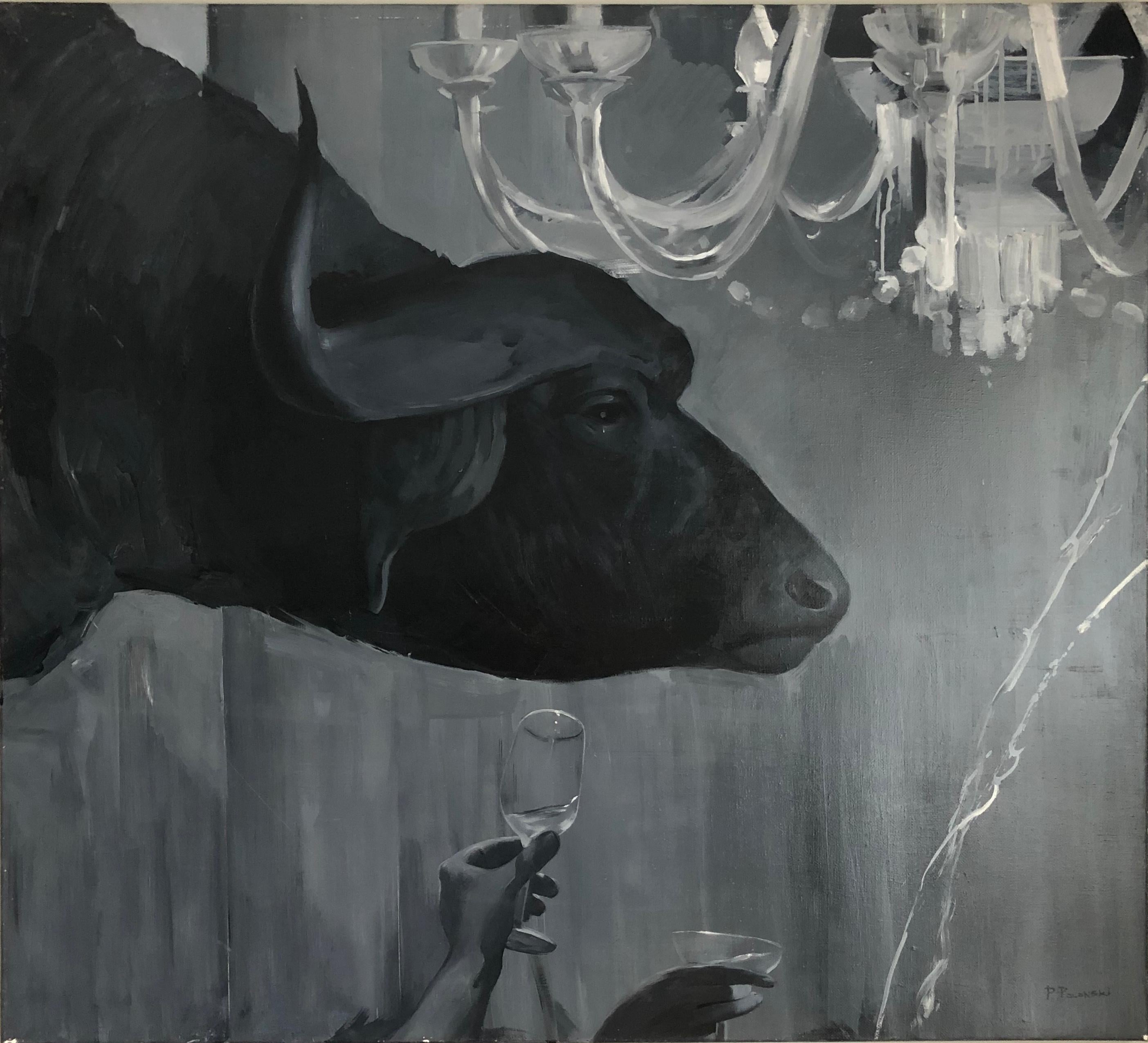 Abduction of Europe-interior art made in grey, black and white, grey color