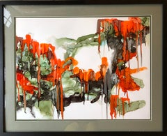 You will drive me crazy-abstract art, made in green,orange,red,back,,olive color