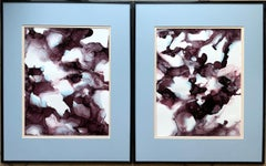 The mazes of memory-abstraction art,made in brown, light blue, aubergine color