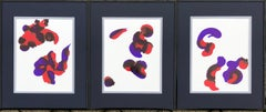 Composition III-abstraction art,made in red, ultramarine blue, violet color