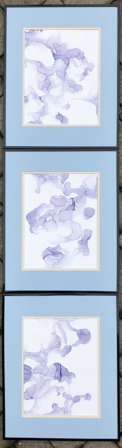 Line of Fate II-abstraction art,made in pale violet, blue, lavender color