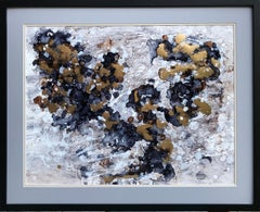 Like an angel- abstraction art, made in gold, grey, blue, white, brown
