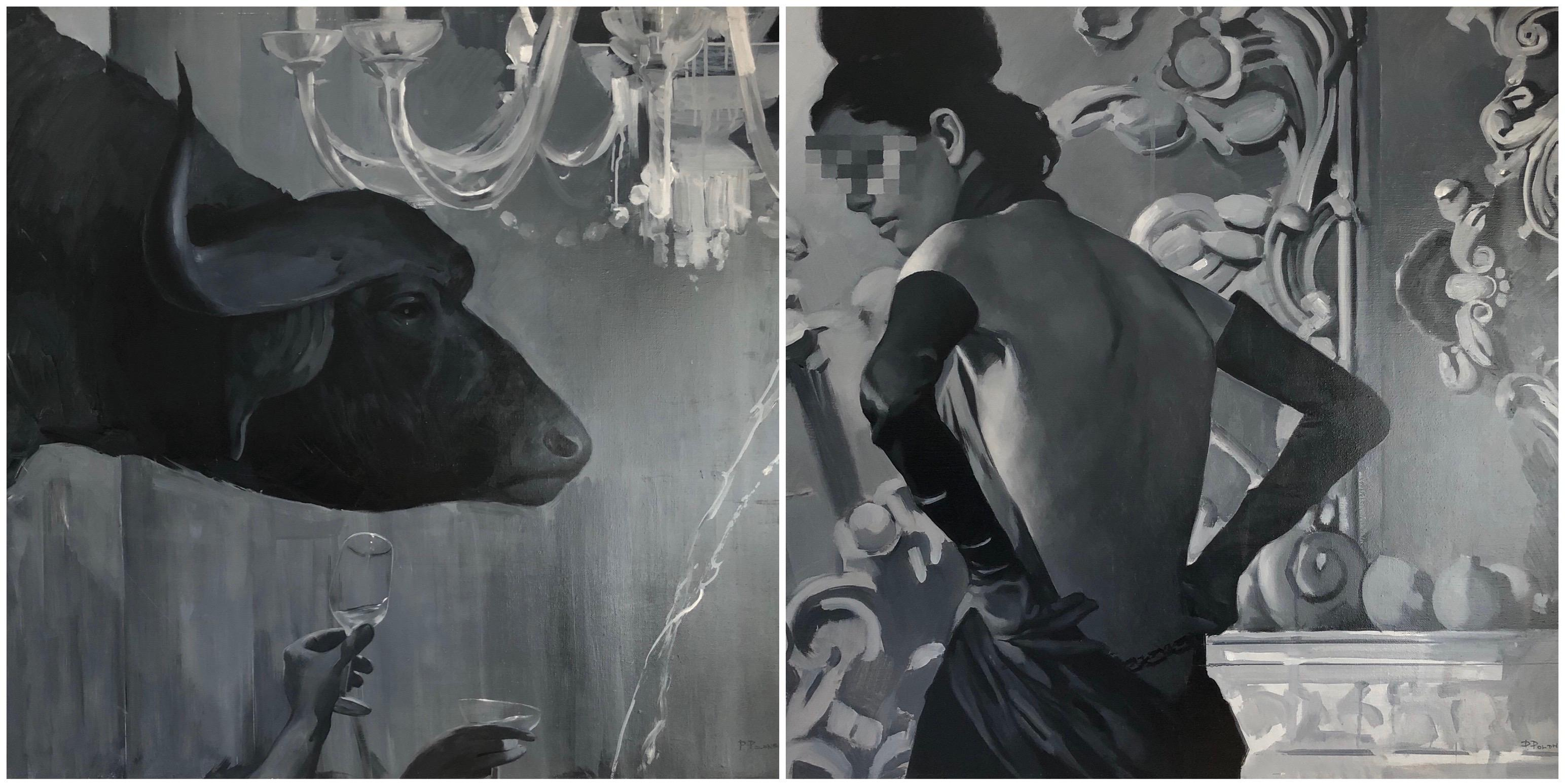 Abduction of Europe diptych-interior art made in grey, white and black color
