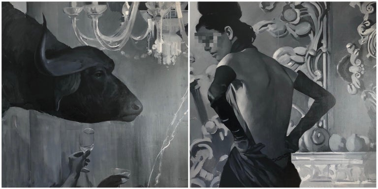 Pavel Polanski Figurative Painting - Abduction of Europe diptych-interior art made in grey, white and black color