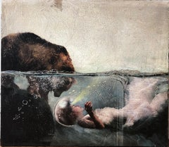Contact-Surrealistic painting(bear and woman) Mystical, esoteric, futuristic art