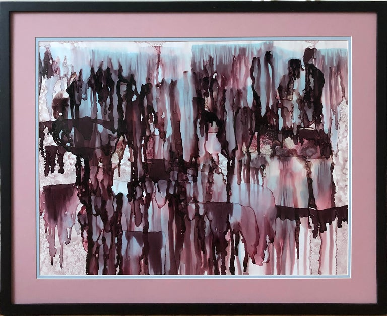 Mila Akopova Abstract Drawing - Colorfall III-abstraction art,made in garnet red, light blue, aubergine color
