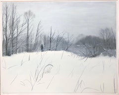 First snow-landscape paiting, made in white, black, grey color