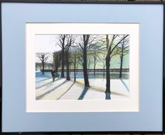 Tuileries (Paris,France)-winter park, made in blue, white, green, black, framed