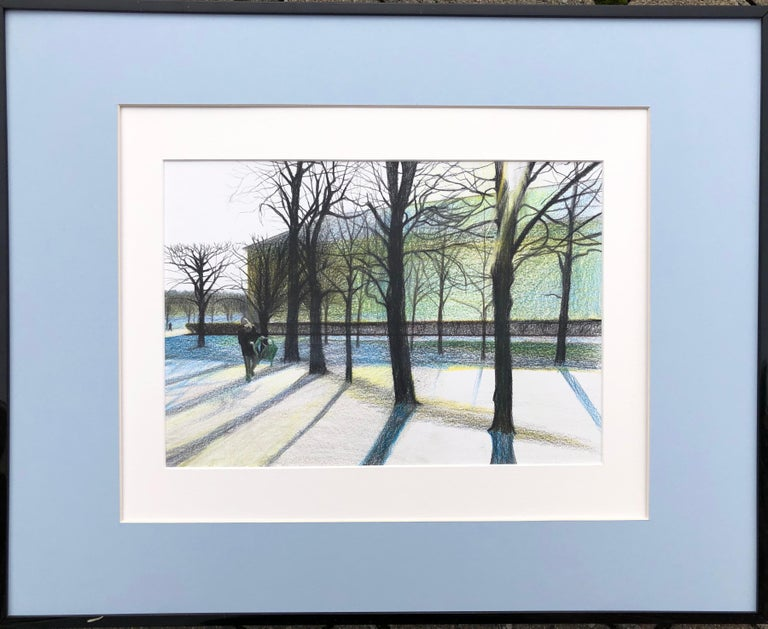 Evgeniya Buravleva Landscape Art - Tuileries (Paris,France)-winter park, made in blue, white, green, black, framed