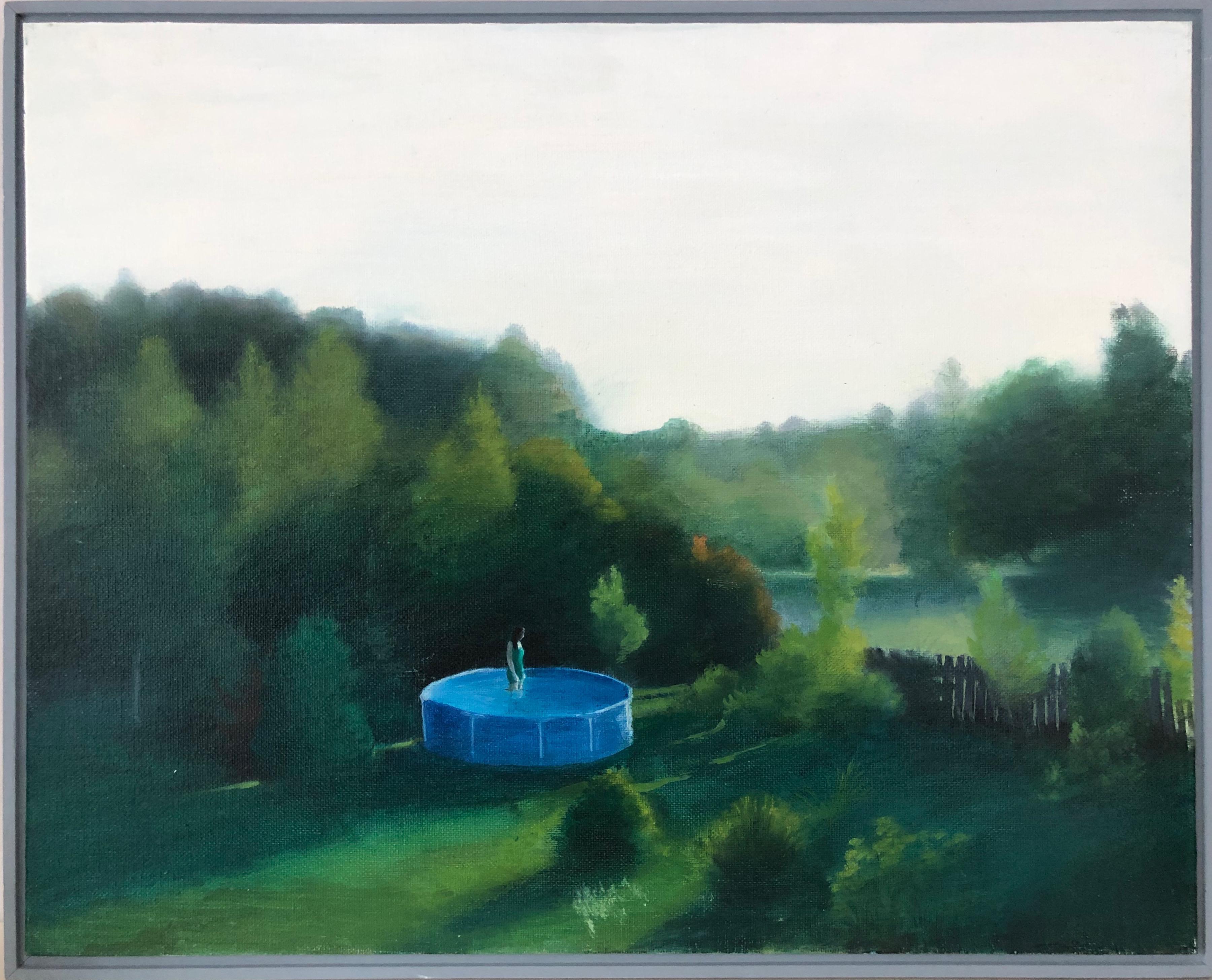 Bathing-landscape, canvas on cardboard, oil, framed, made in green, blue color