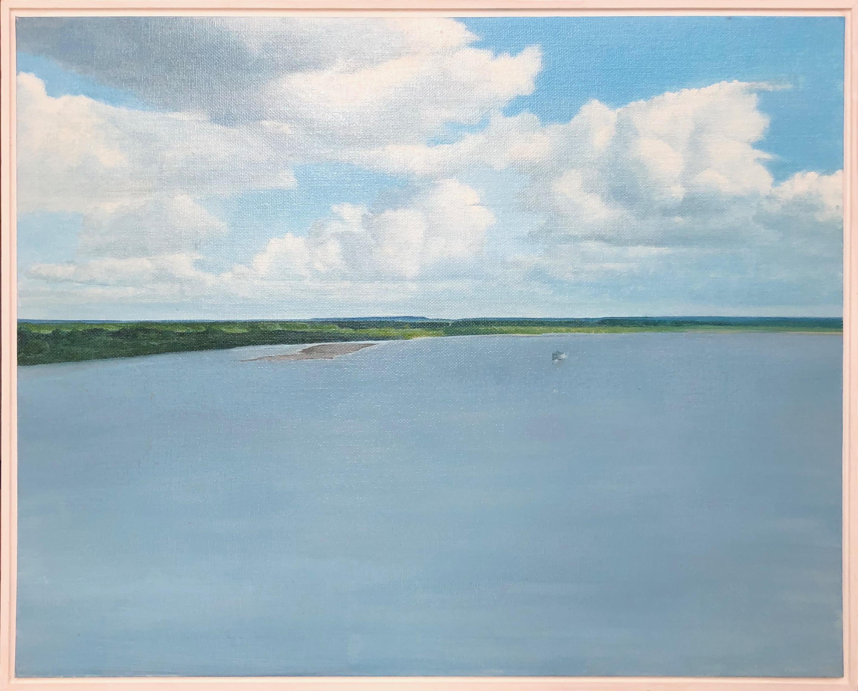 Late departure-landscape, canvas on cardboard, oil, framed, made in green, blue