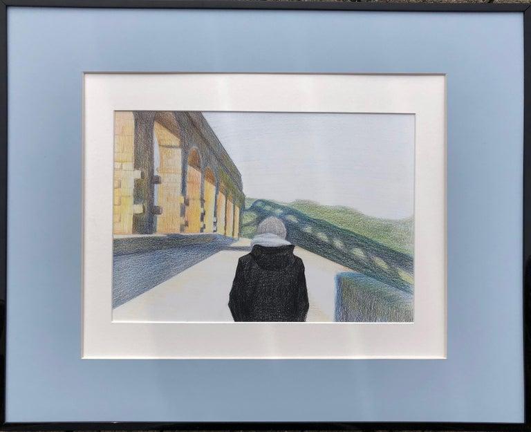 Evgeniya Buravleva Abstract Drawing - Pont Du Gard (France)-made in blue, white, green, black, yellow, framed