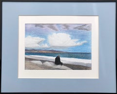 Cote d'Azur (France)-seascape made in blue, white, black, grey framed