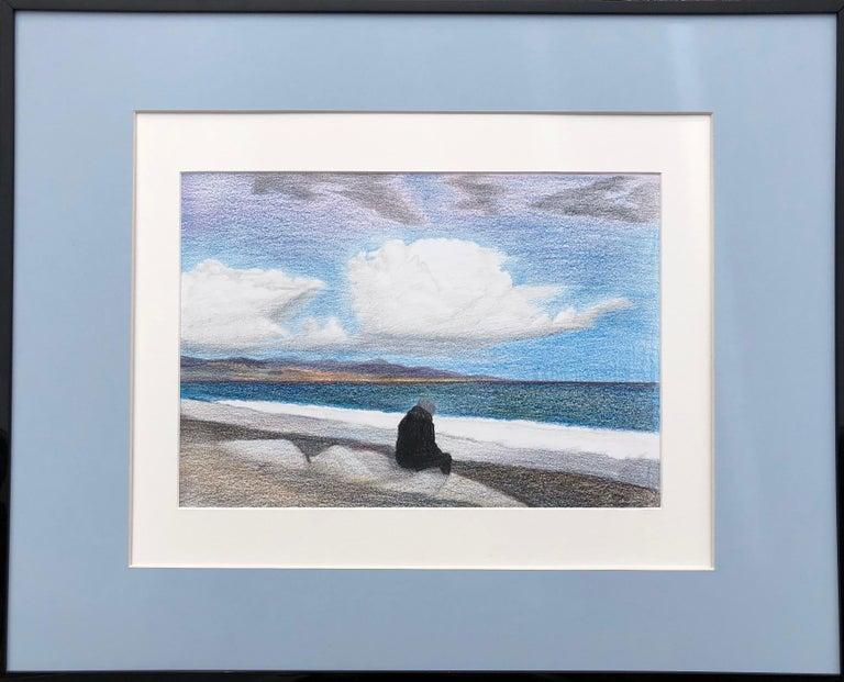 Evgeniya Buravleva Landscape Art - Cote d'Azur (France)-seascape made in blue, white, black, grey framed