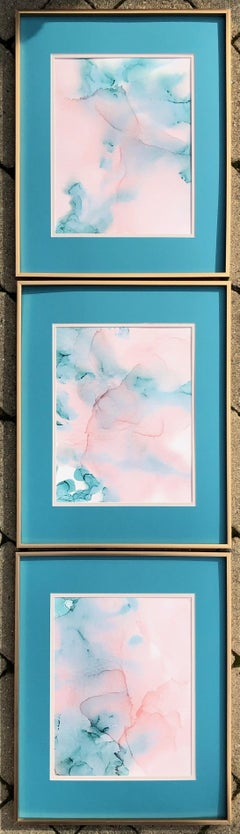 Cote D'Azur- abstraction art, made in pale pink, turquoise color