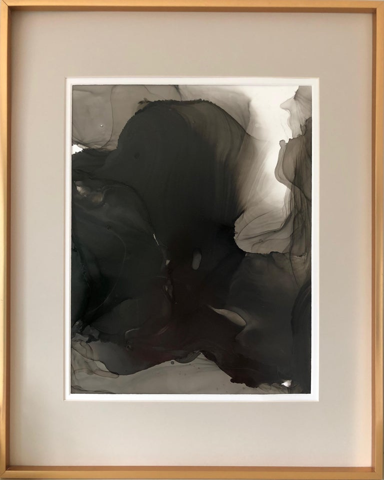 Mila Akopova Abstract Drawing - Untitled - abstraction art, made in black, grey, beige color