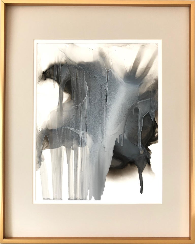 Mila Akopova Abstract Painting - February 7th - abstraction art, made in black, grey, beige, white color