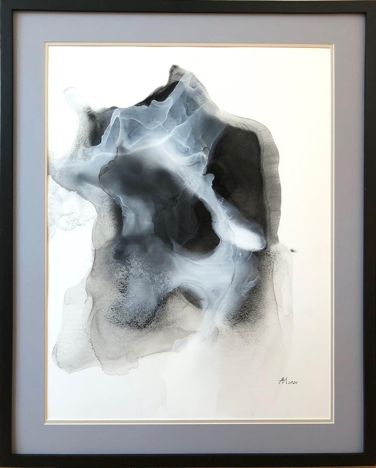 Mila Akopova Abstract Painting - New Wave-abstraction art,made in black, grey, white color