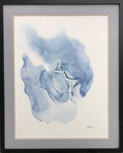 Seashell-abstraction art, made in light blue, navy blue color