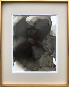 Mystery-abstraction art, made in black, grey, beige color
