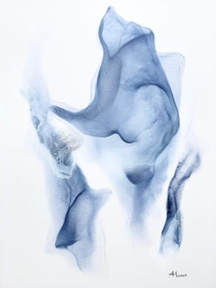 Blossom-abstract painting, made in white, light and navy blue color