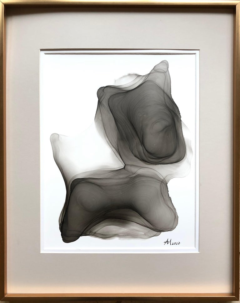 Mila Akopova Abstract Painting - My little puppy-abstraction art, made in black and white, grey color