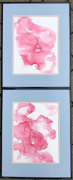 Flowers-abstraction art, made in pale pink, light blue, rose colored