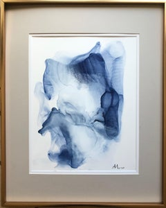 Wave-abstract painting, made in light and navy blue, white color