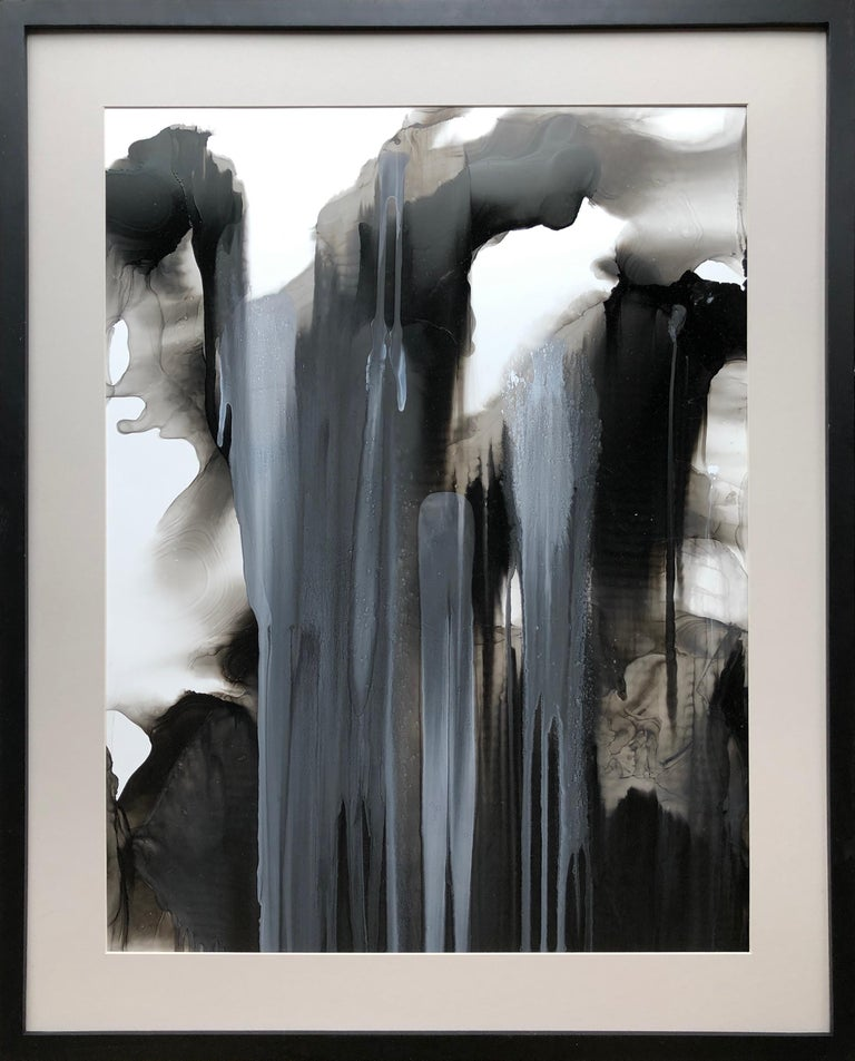 Mila Akopova Abstract Drawing - Untitled - abstraction art, made in beige, grey, black and white color