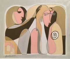 Flirt-abstraction art, made in grey, pale pink, brown, ochre, beige color
