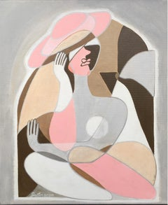The dreaming lady- abstraction art, made in pale pink, beige, grey, brown color