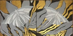 Moths-abstraction art, made in black, gold, grey, white