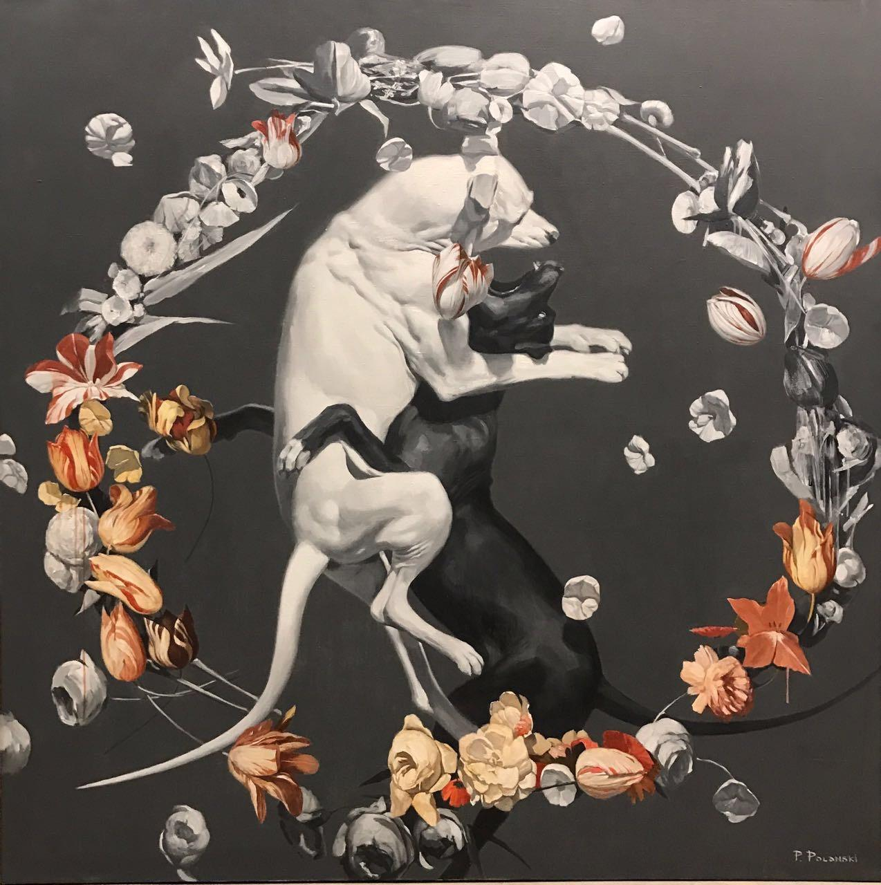 Night-dogs fighting (flowers), made in grey, red, orange, black and white color
