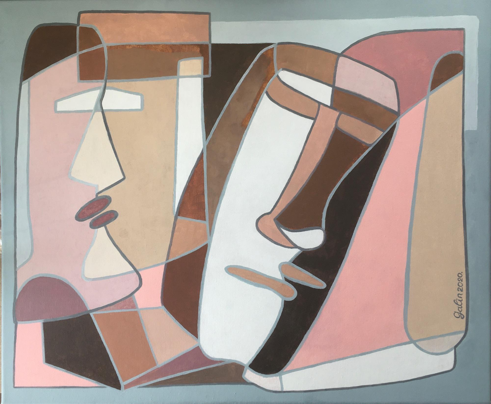 History secrets (idols from Easter Island)-abstract painting, made in pink, grey