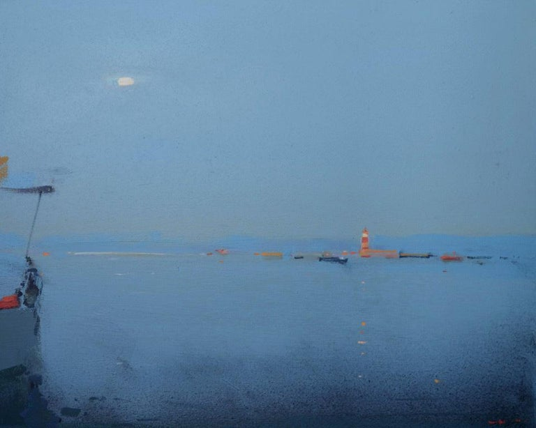 Alexei Lantsev Abstract Painting - Lighthouse (beacon) - abstract seascape, made in navy blue, white, red colors