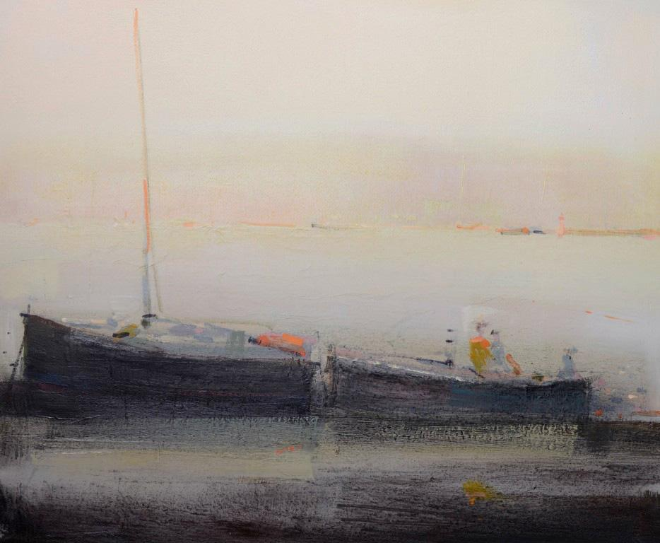 The fisherman boats - abstract seascape, made in grey, pink, navy blue, black