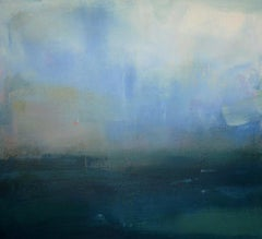 Storm -abstract seascape, made in green, white, beige, turquoise, blue colors