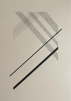 Serie II number 14-combination of minimalism geometric draw and abstract writing