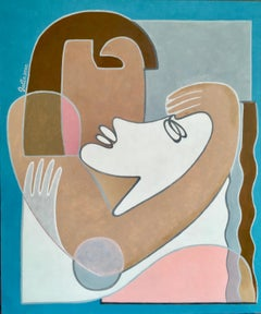 Couple-abstract nude girl with a boy, made in turquoise, beige, pink,brown color