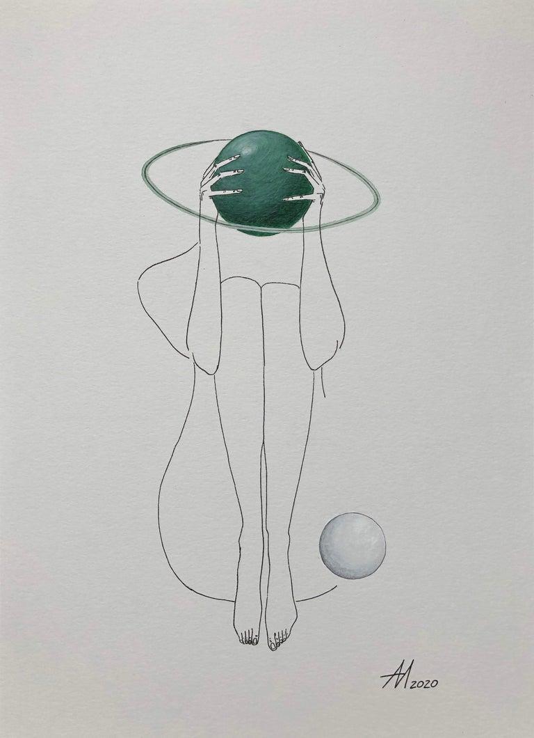Mila Akopova Figurative Art - Green Saturn - line drawing woman figure with circle