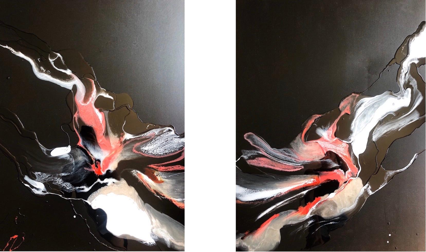 Rosy Water (Diptych) - abstraction art, made in black, rose, salmon red, white