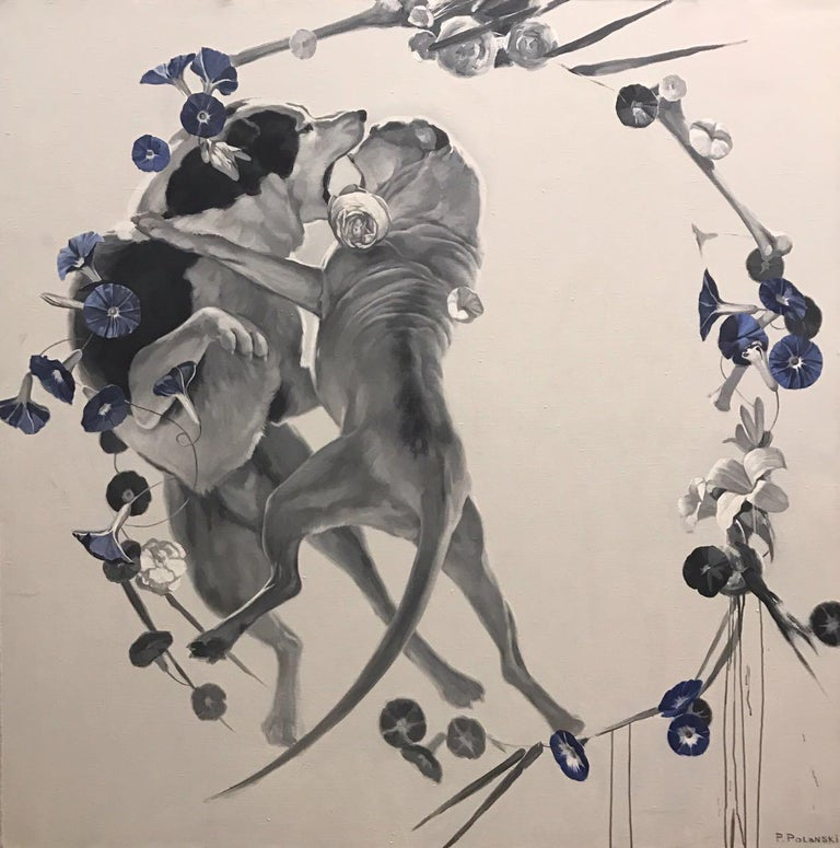 Pavel Polanski Figurative Painting - Mornin-dogs fighting (flowers), made in grey, red, orange, black and white color