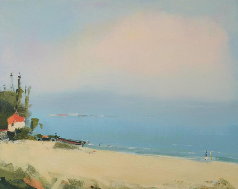 Alexei Lantsev Landscape Painting - Fisherman's house - abstract seascape, made in blue, beige, green, white
