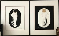 Black and white capsule - line drawing figure with gold disk and stripes