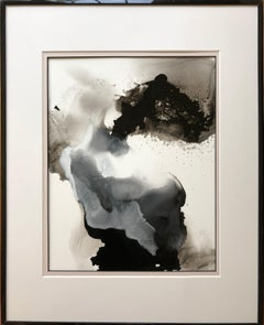 Untitled - abstract painting, made in beige, black and white color