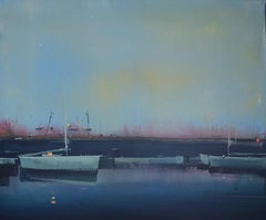 Big Dipper (boats, sea port, evening) - abstract seascape, made in blue color