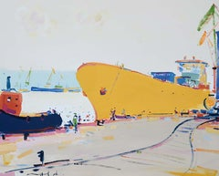 Morning (sea port, boats)-abstract seascape, made in yellow, blue, white colors